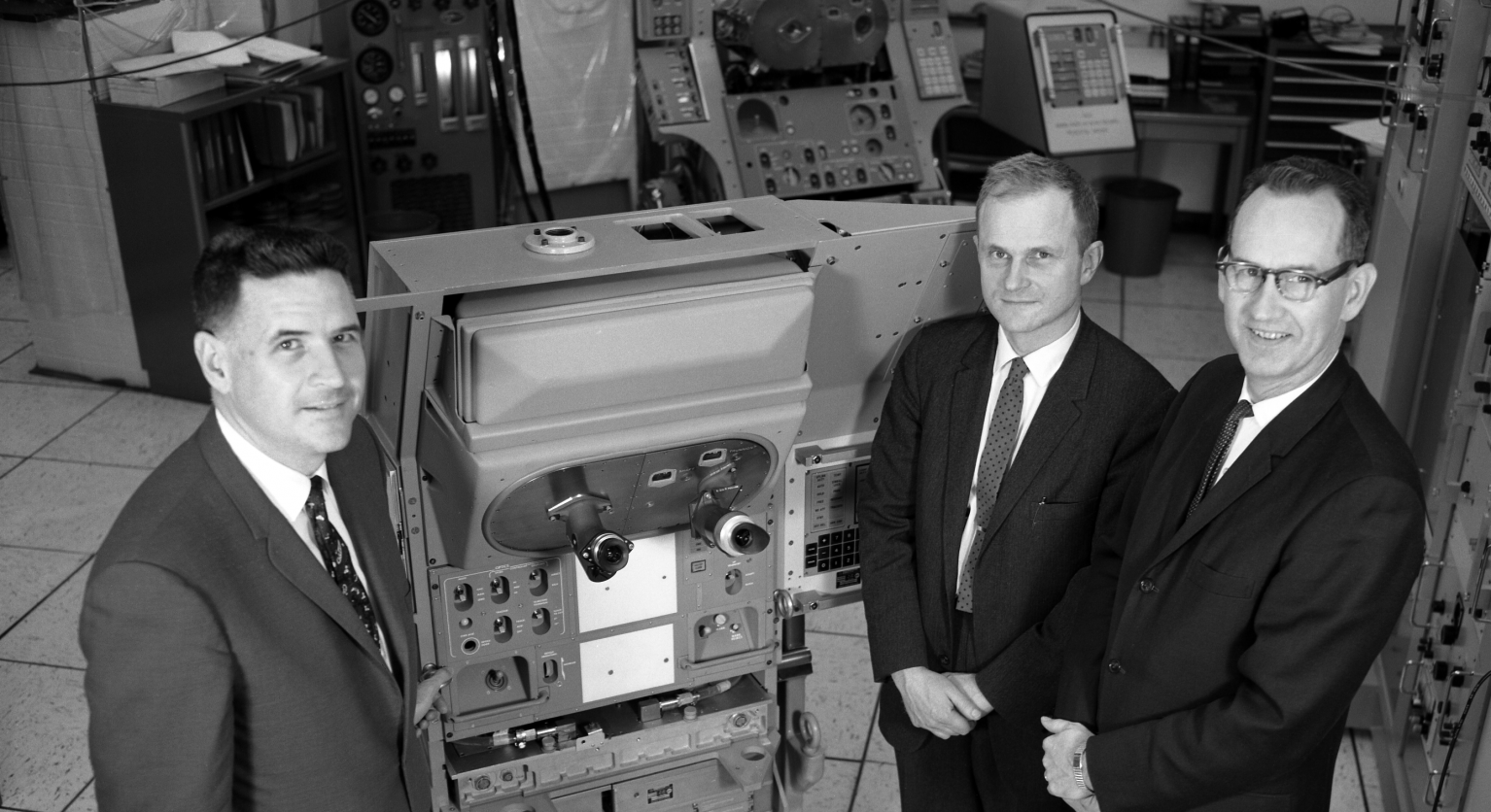 Joseph Shea with Dave Hoag and Ralph Ragan Looking At Apollo Guidance Navigation & Control Hardware