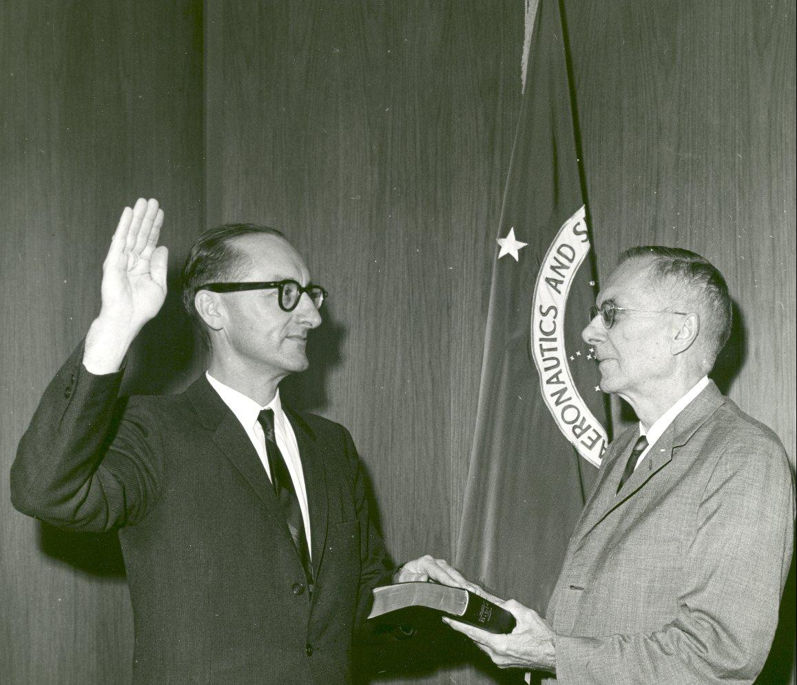 Dr. Hugh Dryden Swearing in Dr. George E. Mueller