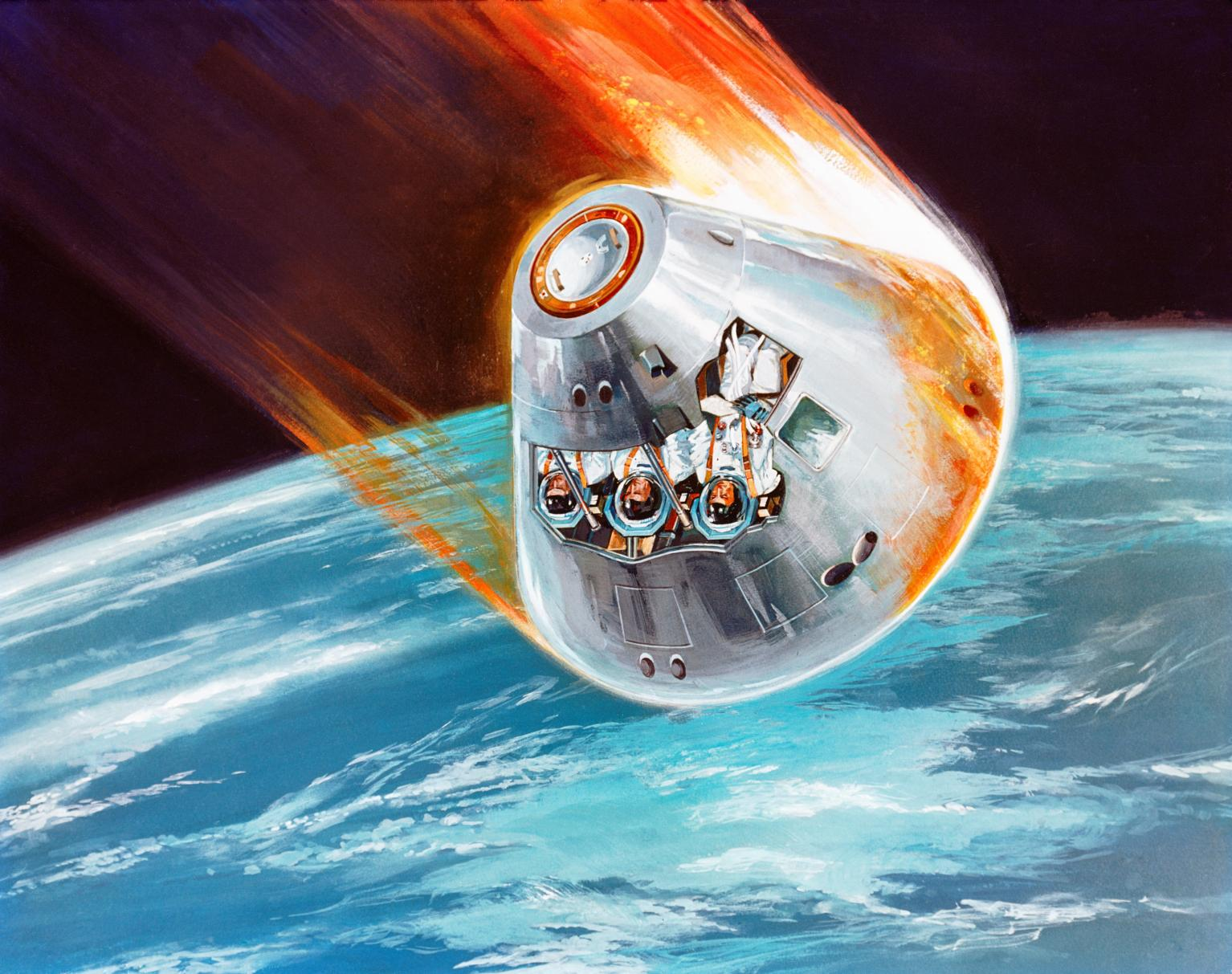 Illustration of Apollo Spacecraft Reentry