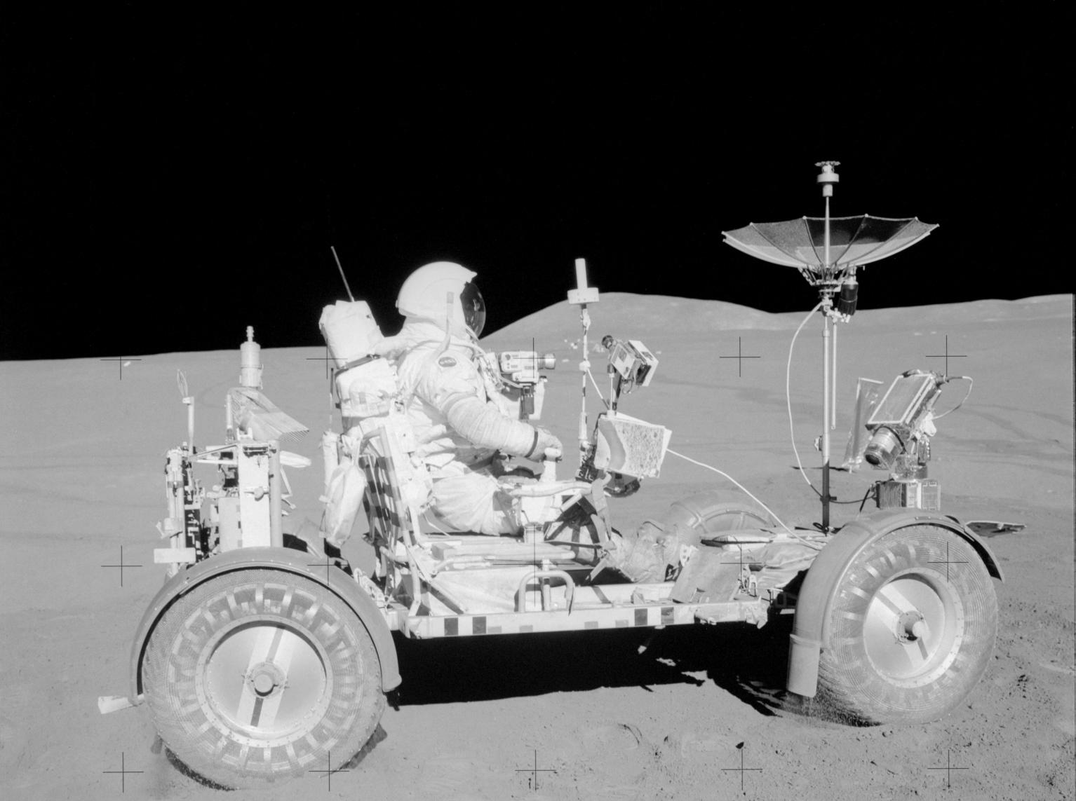 Apollo 15 Astronaut David Scott in Lunar Rover