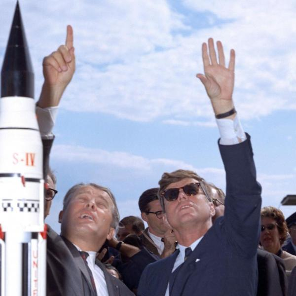 Von Braun and Kennedy at Polaris Missile Launch