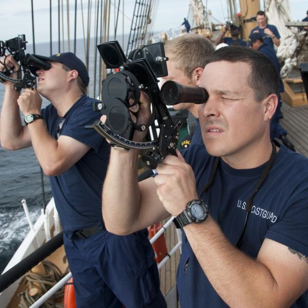 Coast Guard Academy Officer Using a Sextant