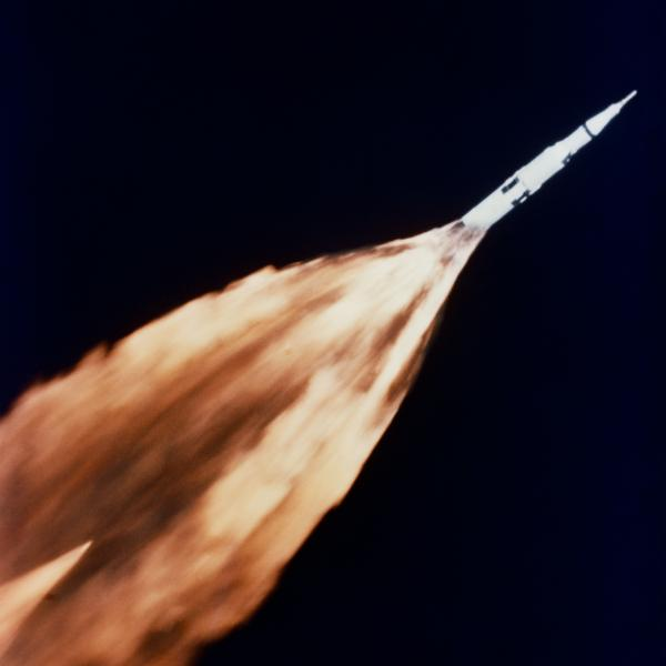 Apollo 6 Saturn V Rocket in Sky with Flame Trail