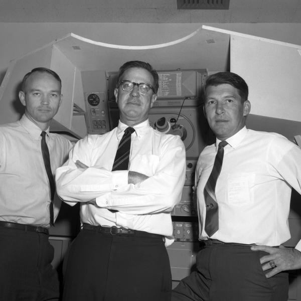 Astronauts Collins and Schirra With Engineer James Elm