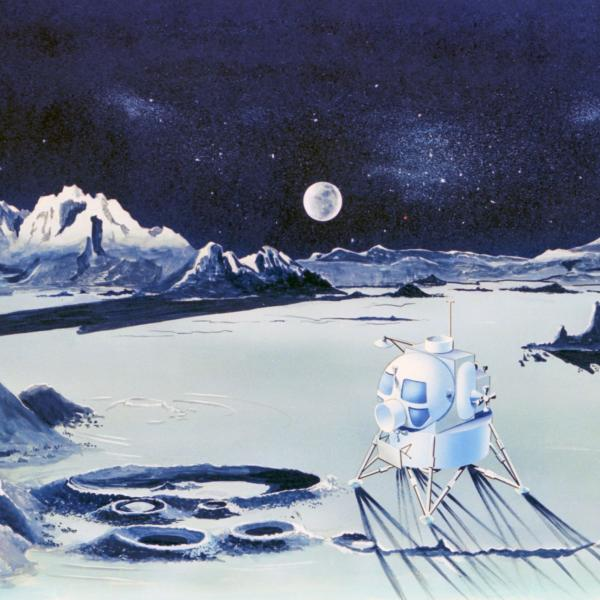 Illustration of Lunar Moon Landscape With Astronauts