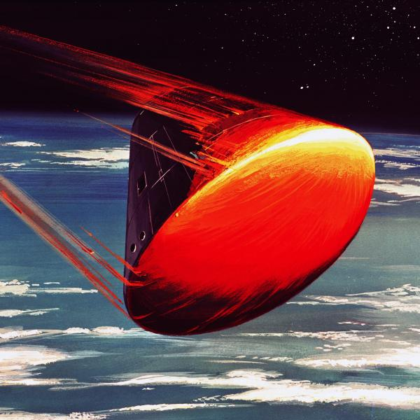 Illustration of the Apollo Command Module During Atmospheric Reentry