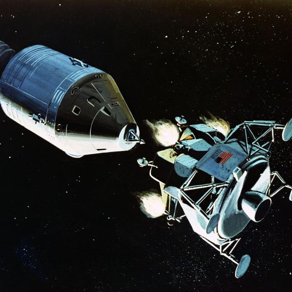 Illustration of the Lunar Excursion Module As It Separates From the Command Service Module