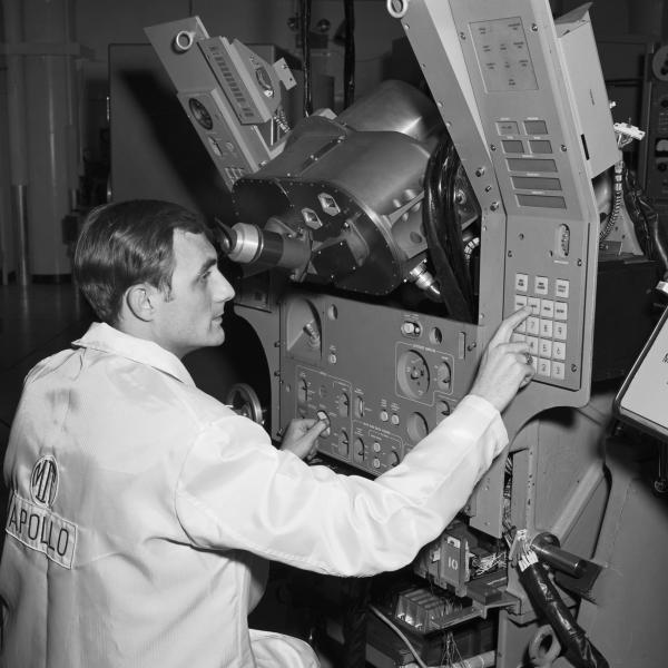 Apollo Block II System with Operator George Schmidt at Controls