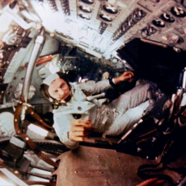 Astronaut Frank Borman Inside the Command Module