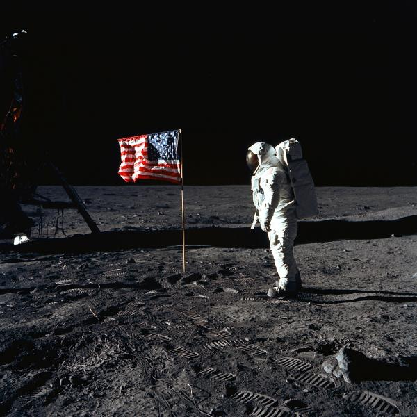 Apollo 11 Astronaut Buzz Aldrin with Flag on Moon